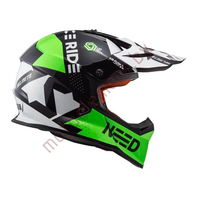 LS2 MX437 FAST Block (Black Green)